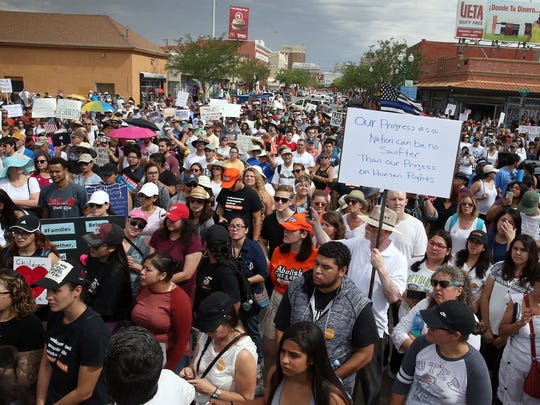 """An estimated 1,500 people turned out for what organizers called a """"massive mobilization"""" to reject family separation and detention at the base of the Paso Del Norte Port of Entry Saturday in downtown El Paso."""