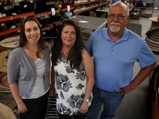 Cornerstone Community Bank vice president and commercial loan officer Megan Jenkins, left, and Global-Flex Mfg. co-owners Claudia Hartley and her husband, Greg Hartley. The Redding firm was named the Small Business Administration's Small Business of the Year for the Sacramento District.