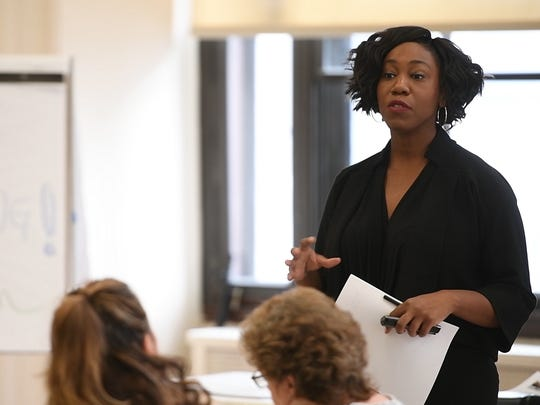 In 2014, a federal investigation found widespread abuse in the Newark Police Department. In response, the city started a 15-hour police training program where cops and residents share stories about trauma.Fatimah Loren Muhammad, Trauma Advocacy Program Director at Equal Justice USA, leads the training on Tuesday, November 14, 2017.