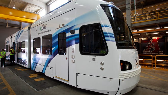 If Tempe gets its streetcar line, the cars might look like this one from manufacturer Kinkisharyo.
