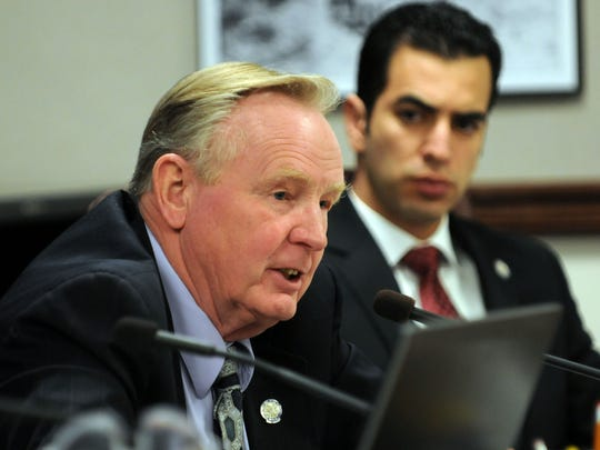 State Sen. Don Gustavson, seen here in 2011, has long sponsored a bill to do away with Nevada?s motorcycle helmet law.