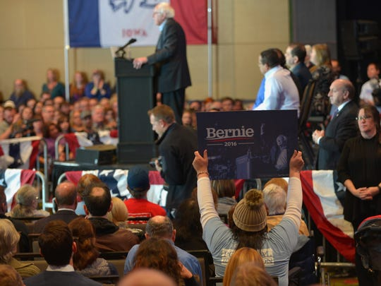 Hundreds cheer on Sen. Bernie Sanders during his address Saturday night in Cedar Rapids, Iowa.