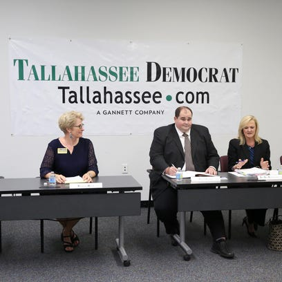 Joe Rondone/DemocratRoger Pinholster, from left, Rosanne Wood, Patrick Cannon, Dee DeeRasmussen and Tallie Gainer talk about their candidacies for the Leon County School board during an editorial board meeting at the Tallahassee Democrat office. Roger Pinholster, from left, Rosanne Wood, Patrick Cannon, Dee DeeRasmussen and Tallie Gainer talk about their candidacies for the Leon County School board during an editorial meeting at the Tallahassee Democrat office.