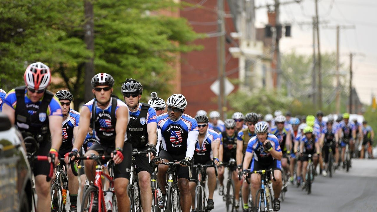 Thursday, the day after York City Police Officer Alex Sable died following a cardiac arrest he suffered during a training exercise, about 80 cyclists from around the country with Law Enforcement United stopped in York to pay their respects.