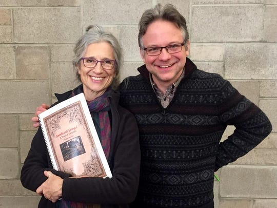 """Narrator Camilla Schade holds newly minted score for """"Jorinda & Joringel"""" by Ithaca composer Tom Schneller, which will have its world premiere by Music's Recreation on Sunday."""