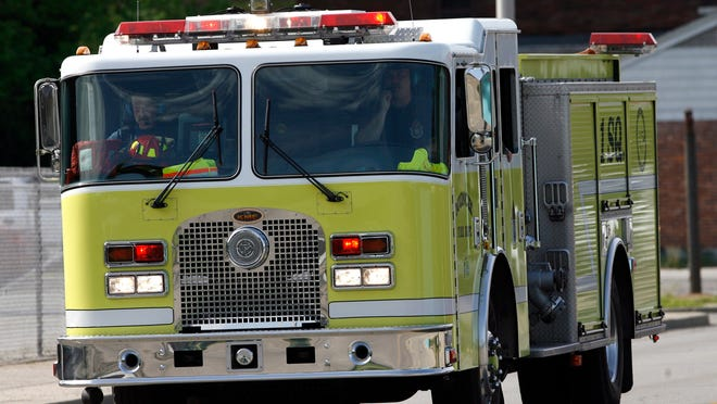Chris Bergin/ The Star Press  0515 One Squad and One Rescue based out of the downtown fire station respond to a call at Ball State Friday morning. The station, along with station number four will be closing within the next 30 days.