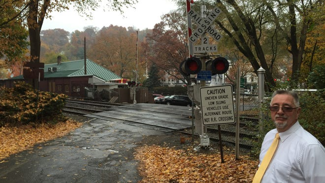 Mount Pleasant Town Supervisor Carl Fulgenzi seen last month at the Cleveland Street crossing Valhalla. He wants to close the grade crossing but is waiting for a state analysis on its safety.