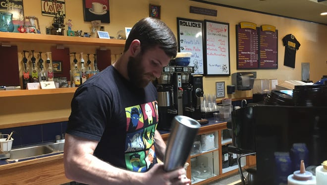 Steve Hall manager at Rollick's coffee shop in downtown Salinas expects a slight increase in customers from the 2016 Forbes AgTech Summit