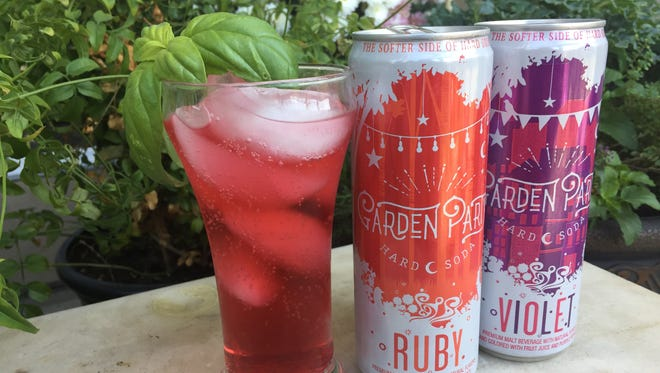 Garden Party Ruby and Garden Party Violet are both 8 percent alcohol by volume (ABV). Ruby is a ginger soda with hibiscus and pomegranate. Violet is a lemon soda with lavender and blackberry.