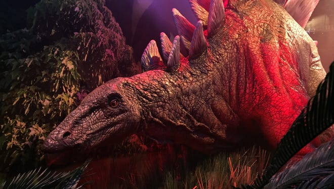 """This Wednesday, Nov. 23, 2016 photo, shows an animatronic stegosaurus on display at the """"Jurassic World"""" exhibit opening Friday, Nov. 25, at the Franklin Institute in Philadelphia."""