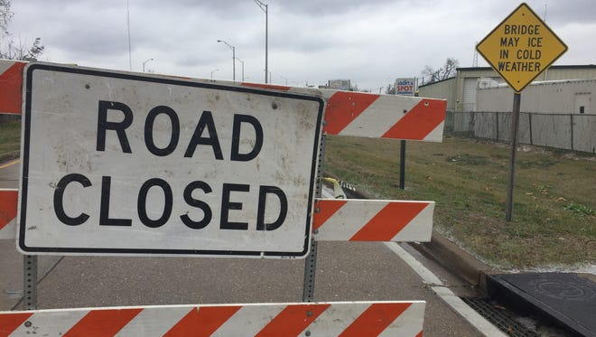 Lea Joyner Expressway near the Monroe Civic Center was closed because of icy conditions Friday morning.