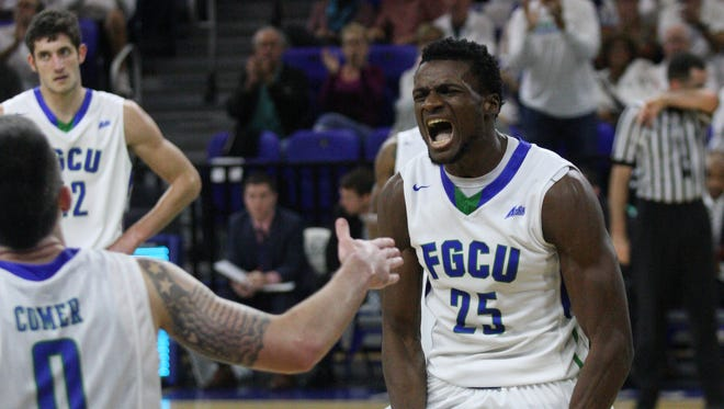 Game action between FGCU and Stetson on Saturday at Alico Arena in Fort Myers. FGCU beat Stetson 72-50.