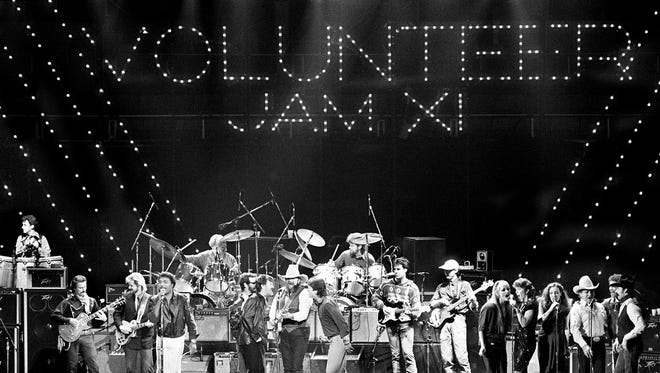 Charlie Daniels, center in white cowboy hat, is in the middle of finishes up the nine-hour Volunteer Jam XI at Municipal Auditorium from Feb. 2, 1985 into Feb. 3rd. Some of the guests on stage with him are Dickie Betts, Little Richard and Kris Kristofferson.