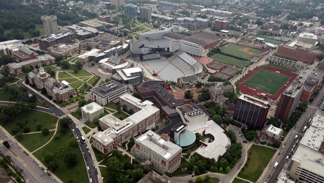 A 2014 aerial view of the University of Cincinnati campus looking northeast from above Hughes High School.