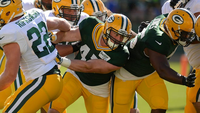 Green Bay Packers linebacker Jake Ryan (47) during training camp practice at Ray Nitschke Field on Tuesday, Aug. 4, 2015.