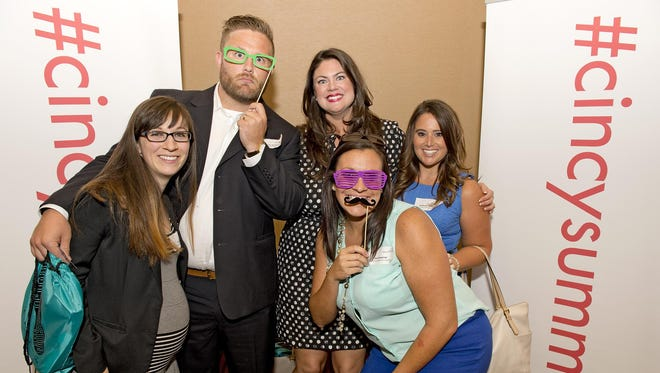 Hundreds of young professionals gathered Thursday evening at Horseshoe Casino Cincinnati for the 11th annual Bold Fusion YP Summit. Coming out Downtown were Kate Elliot, Aaron Motley, Alyson Poling, Jenni Grammer and Stephanie Anderson.