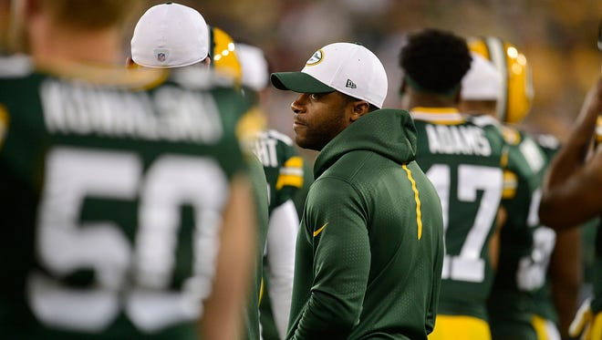 Green Bay Packers receiver Randall Cobb looks on from the sidelines after getting injured during Saturday night's preseason game against the Philadelphia Eagles at Lambeau Field.