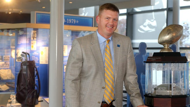Longtime MTSU men's golf coach Whit Turnbow was promoted to associate athletic director for strategic initiatives and resource enhancement for MTSU in August 2015. Turnbow is seen here in the MTSU Hall of Fame.