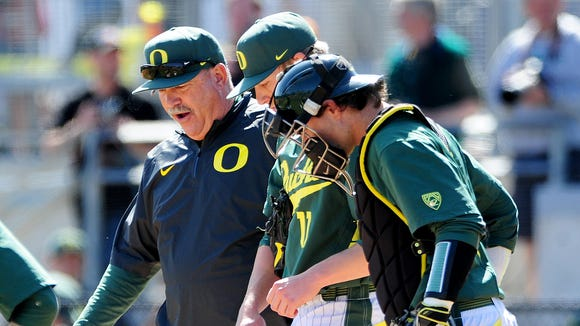 BRENT DRINKUT/Statesman Journal Coach George Horton has built Oregon baseball from the ground up since the program was reinstated in 2009. Oregon head coach George Horton makes a trip to the mound against Oregon State at PK Park, on Sunday, April 12, 2015, in Eugene. Oregon won the game 10-9.