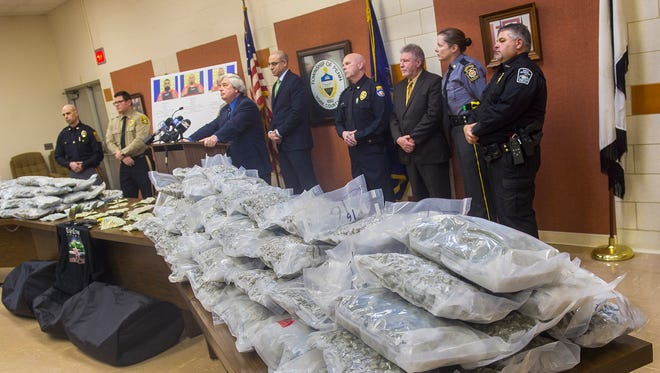 District Attorney Tom Kearney listens to a question posed by the media during a drug bust press conference on Jan. 4, 2016 in Penn Township.