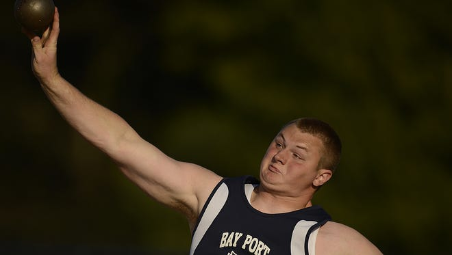 Bay Port senior Cole Van Lanen will be trying to repeat as the WIAA Division 1 state champion in the shot put and discus this season.
