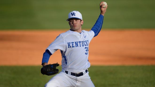 Zach Logue pitches during the UofL baseball game against University of Kentucky at Cliff Hagan Stadium in Lexington, Ky., on Wednesday, April 13, 2016.