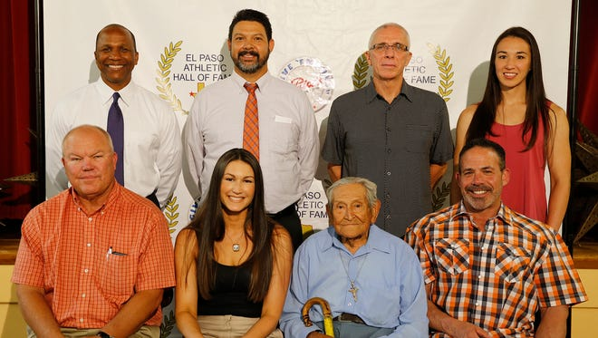 "The 2016 El Paso Athletic Hall of Fame Honorees are, top row from left, Anthony J. Morgan, coaching category; Randy Rapanut, representing the Rapanut family and his father, Robert ""Rap"" Rapanut, in the Posthumous category; Shawn Lehigh, in the Official category; and Jennifer Han, in the Athlete category. In the front row from left are Scott Brooks, Coaching category; Noelle Young, representing her husband, Brian Young, in the Athlete category; Gabriel Hernandez, Supporter of Athletics Category; and Scott Stein, Athlete category. The Hall of Fame banquet will be begin at 6:15 p.m. Wednesday at the Sunland Park Racetrack & Casino Signature Showroom. Also being honored will be various high school athletes from several school districts."