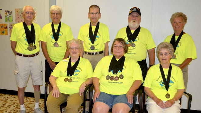 Nine Windy Hill on the Campus members participated in the 2016 Senior Games. From left, seated, are: Nancy Foust-Wagner, Deb Wire, Fran Bixler; standing, Gene Bixler, Ken Geiger, Walt Miller, Dick Stambaugh and Kay Kessler. Mary Ann Keiser is not pictured.
