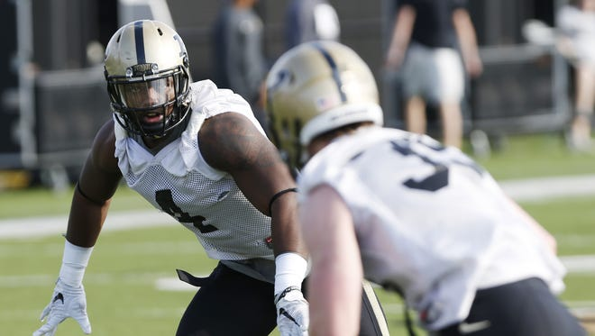 Linebacker Ja'Whaun Bentley during spring football practice Tuesday, March 8, 2016, at Purdue University.