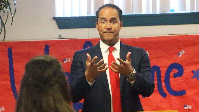 U.S. Rep. Will Hurd, R-Texas, answers a question from Fabens High School senior Anahy Ruiz, who asked about funding for STEM Academy programs like the one at the school during his visit Friday. Hurd was invited to speak as part of the school's Civic Engagement Initiative. STEM stands for science, technology, engineering and math.