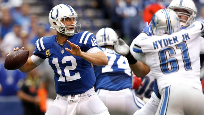 Indianapolis Colts quarterback Andrew Luck (12) drops back to pass agains the Detroit Lions at Lucas Oil Stadium on Sept. 11, 2016.