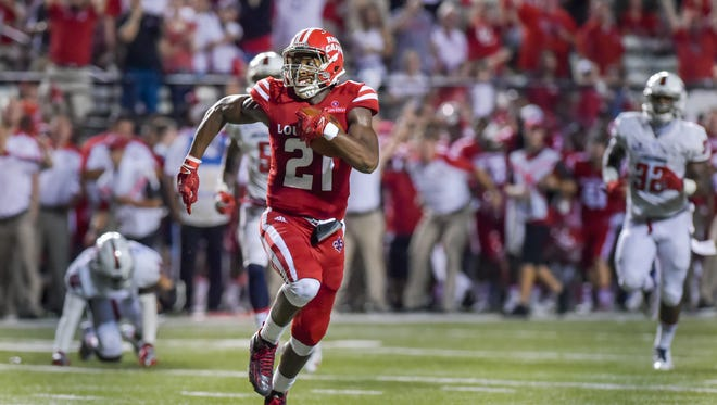 The improved play of young wide receivers, such as Keenan Barnes (21) shown here scoring against South Alabama, is a big reason for the Cajuns' late-season resurgence.