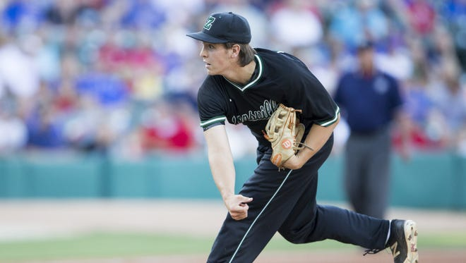 Zionsville's Nick Prather fires a pitch during the state title game against Roncalli, June 17, 2016 at Victory Field.