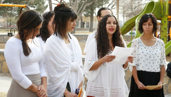 Members of the Boundless Across Borders group, including Xochitl R. Nicholson, Sandra Paola Lopez, Sandra Iturbe and Angie Reza Tures, on Thursday discuss plans to demonstrate for women's rights Jan. 20 at the Paso del Norte Bridge and Jan. 21 at a march starting in Armijo Park.
