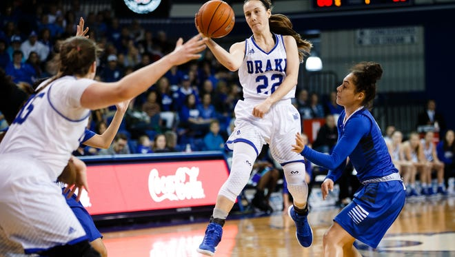 Drake's Caitlin Ingle passes the ball in mid air during their basketball game against Indiana State on Sunday, Jan. 22, 2017, in Des Moines.