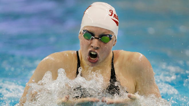 Indiana's Lilly King swims the breaststroke leg of the 200 yard IM during day two of the 2017 Big Ten Women's Swimming and Diving Championships Thursday, February 16, 2017, at Purdue University. King finished second with a time of 1:55:90, but was later moved up to first after Michigan's Siobhan Haughey was disqualified.