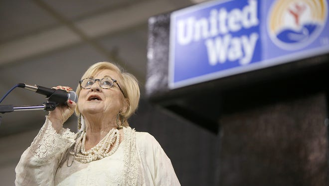 Women's Leadership Council Chair Anita Kay Archer welcomes everyone to the First Ladies' Luncheon at the Jackson Fairgrounds in Jackson on Thursday, March 2, 2017.