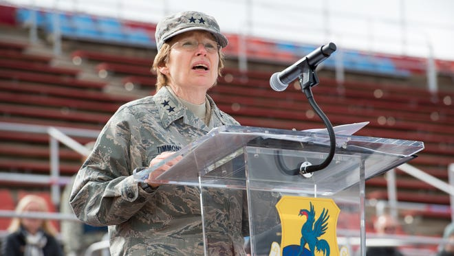 Major General Carol Timmons, Adjutant General, Delaware National Guard speaks during the Governor's Day Review of Troops at Delaware State University in 2017.