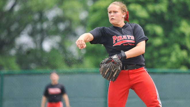 Cardington senior Alyson Adams throws the ball during a 3-2 Division III district championship victory over Johnstown Saturday at Pickerington Central.