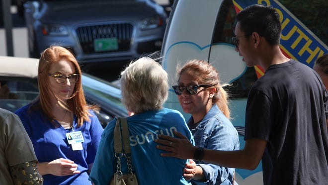 Volunteers at Las Vegas University Medical Center in Las Vegas on Oct. 2, the day after a deadly shooting.