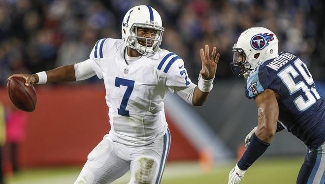 Indianapolis Colts quarterback Jacoby Brissett (7) runs for a first down but is called short against the Tennessee Titans late in the game at Nissan Field in Nashville, Tenn., on Monday, Oct. 16, 2017.