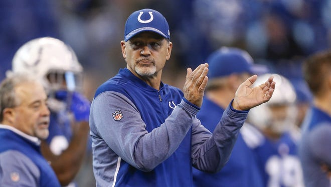 Indianapolis Colts head coach Chuck Pagano during pregame warmups before facing the Houston Texans at Lucas Oil Stadium on Sunday, Dec. 31, 2017.