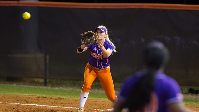 Sophomore Hayley Barbazon hit two triples in a 9-0 win against Jackson State on Saturday.