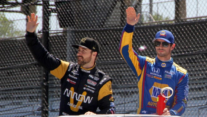 """James Hinchcliffe, left, and Alexander Rossi will launch their """"Off Track"""" podcast March 22."""