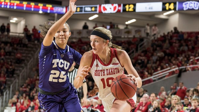 Allison Arens, shown here playing against Texas Christian last season, scored 11 points vs. Incarnate Word on Sunday at the Sanford Coyote Sports Center.