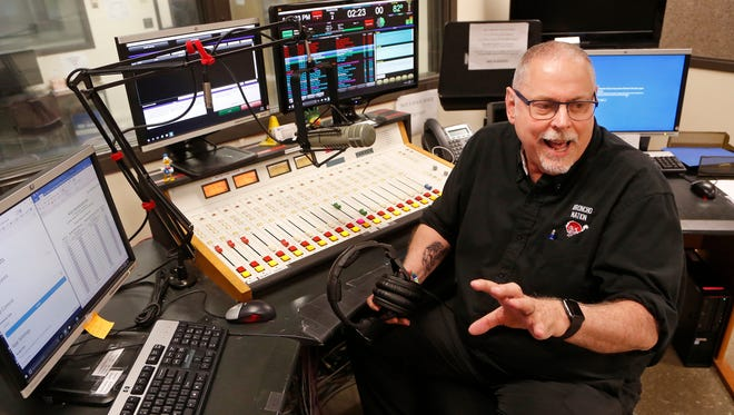 Randy Brist talks about the changes he has seen over the years as director of Jefferson High School Radio & TV Wednesday, May 2, 2018, in the studios of Jeff 92 at Lafayette Jeff. Brist is retiring after 34 years in the position.