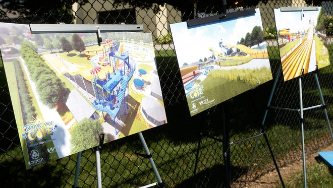 Artist renderings for a new Mat Racer Slide Monday, July 16, 2018, at Tropicanoe Cove. Officials announced The Mat Racer Slide will open next May, the 20th anniversary of Tropicanoe Cove. The slide will be 44 feet high and feature six lanes. Mayor Tony Roswarski said the project will cost $2.7 million dollars.