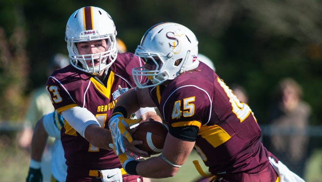 Senior quarterback Ryan Jones and senior fullback Connor Canonico are two key players returning for the Sea Gulls in 2016.