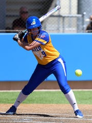 Angelo State's Courtney Barnhill waits for the right