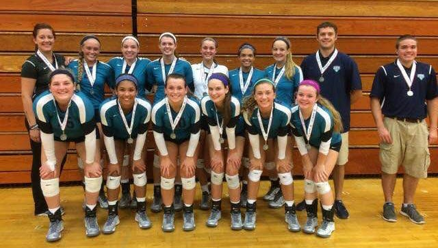 Siegel's volleyball team won the silver bracket in the Charger Invite in Champaign, Illinois. In the front, from left, are Katelyn Lester, Asha Phillips, Kristin Demonbreun, MaKenzie Jordan, Julia Wheeler and Caitlyn Delk.In the back, from left, are assistant coach Maggie Allan, Leah Poarch, Hannah Adams, Kayla Mize, Liz Bossong, Alexis Radtke, Ashley Wessner, coach Shawn Robinson and manager Austin Kraner